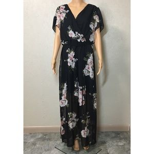 NWT Maurices Floral Tassel Side Slit  Maxi Dress